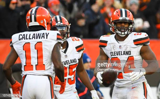 Running back Nick Chubb of the Cleveland Browns celebrates after scoring a rushing touchdown in the fourth quarter of a game against the Carolina...