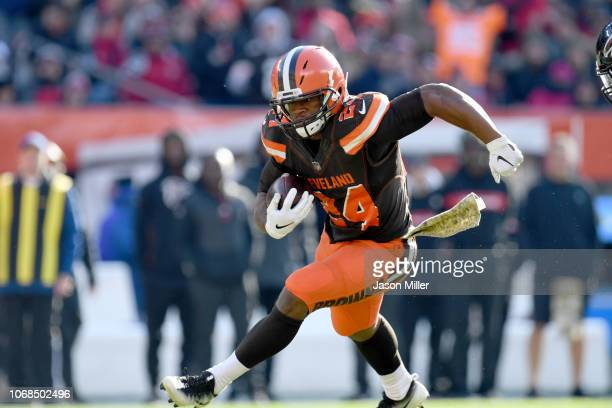 Running back Nick Chubb of the Cleveland Browns during the game against the Atlanta Falcons at FirstEnergy Stadium on November 11 2018 in Cleveland...