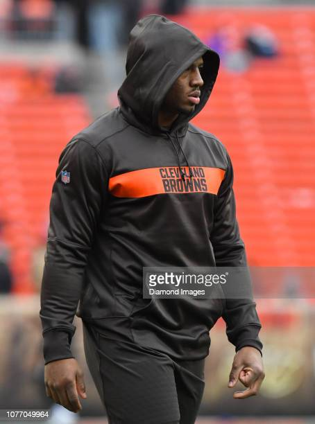 Running back Nick Chubb of the Cleveland Browns on the field prior to a game against the Cincinnati Bengals on December 23 2018 at FirstEnergy...
