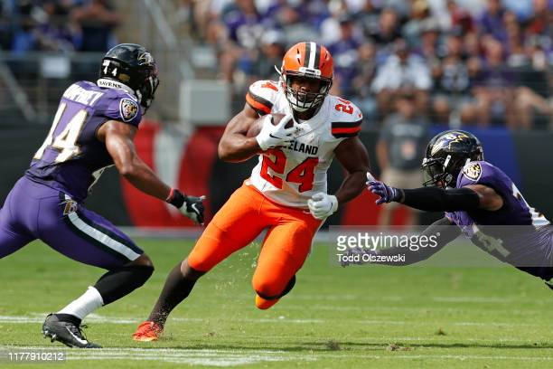 Running Back Nick Chubb of the Cleveland Browns runs with the ball in the first half against the Baltimore Ravens at MT Bank Stadium on September 29...