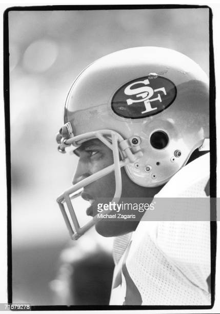 Running back OJ Simpson of the San Francisco 49ers looks on against the New Orleans Saints at Candlestick Park on September 23 1979 in San Francisco...