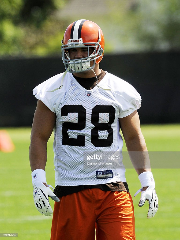 Running back Peyton Hillis #28 of the Cleveland Browns watches a play during the team's organized team activity (OTA) on May 19, 2010 at the Cleveland Browns practice facility in Berea, Ohio.