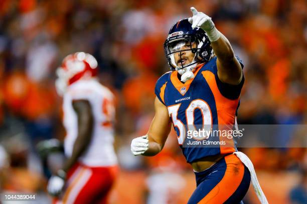 Running back Phillip Lindsay celebrates after scoring a thirdquarter touchdown against the Kansas City Chiefs at Broncos Stadium at Mile High on...