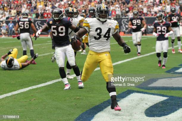 Running back Rashard Mendenhall of the Pittsburgh Steelers rushes for a touchdown in the third quarter against he Houston Texans on October 2 2011 at...