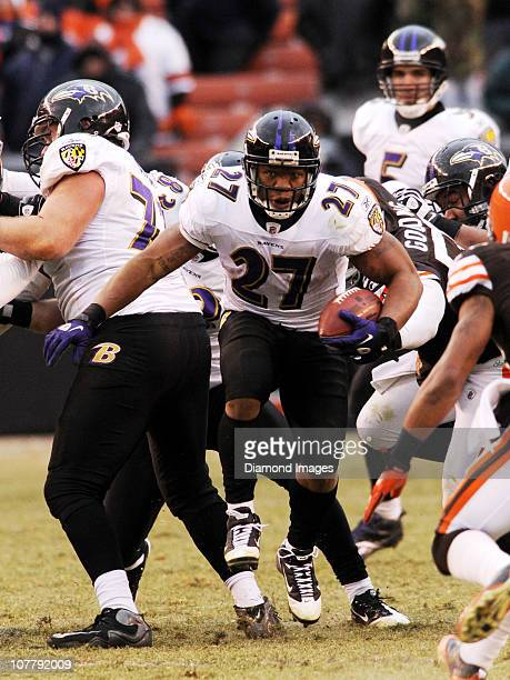 Running back Ray Rice of the Baltimore Ravens carries the ball during a game against the Cleveland Browns on December 26, 2010 at Cleveland Browns...