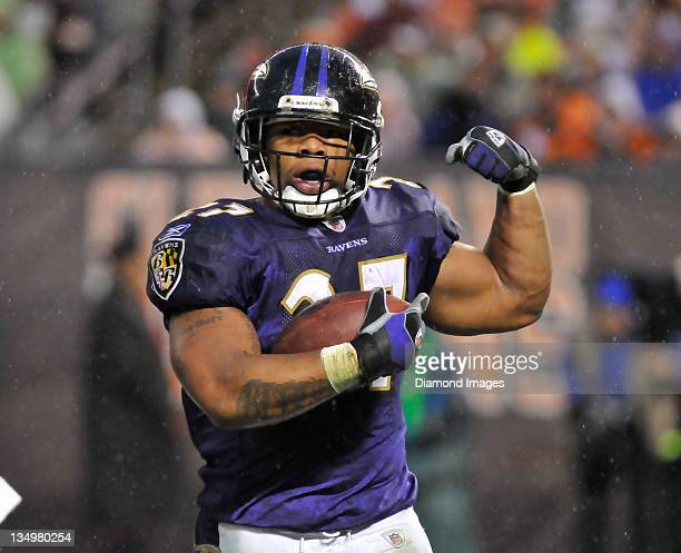 Running back Ray Rice of the Baltimore Ravens celebrates after scoring a touchdown during a game with the Cleveland Browns at Cleveland Browns...