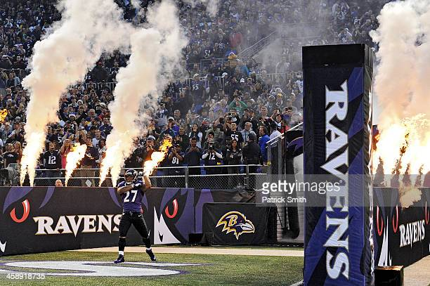 Running back Ray Rice of the Baltimore Ravens is introduced before playing the New England Patriots at M&T Bank Stadium on December 22, 2013 in...
