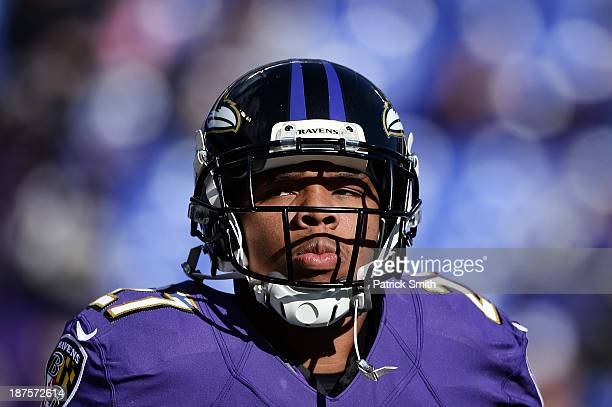 Running back Ray Rice of the Baltimore Ravens looks on before playing the Cincinnati Bengals at M&T Bank Stadium on November 10, 2013 in Baltimore,...