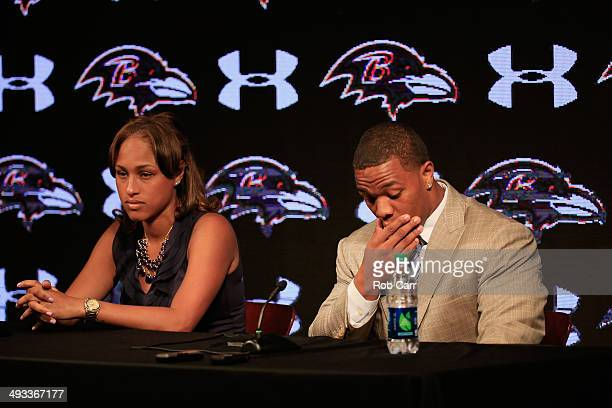 Running back Ray Rice of the Baltimore Ravens pauses while addressing a news conference with his wife Janay at the Ravens training center on May 23,...