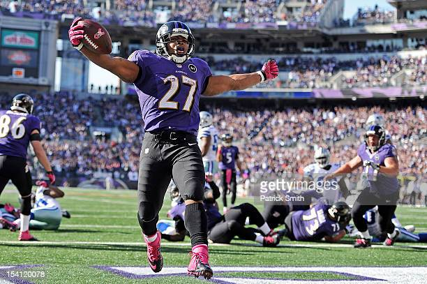 Running back Ray Rice of the Baltimore Ravens scores a touchdown against the Dallas Cowboys in the fourth quarter at M&T Bank Stadium on October 14,...