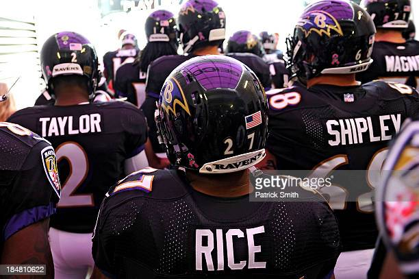 Running back Ray Rice of the Baltimore Ravens stands in the tunnel before being introduced in an NFL game against the Green Bay Packers at M&T Bank...