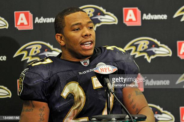 Running back Ray Rice of the Baltimore Ravens takes questions from the media after a game with the Cleveland Browns at Cleveland Browns Stadium in...