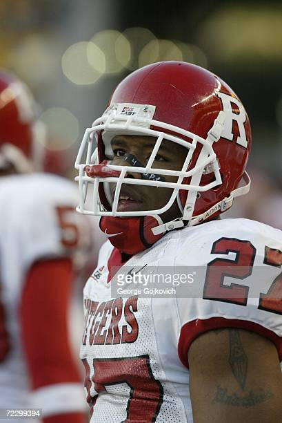 Running back Ray Rice of the Rutgers University Scarlet Knights on the sideline during a game against the University of Pittsburgh Panthers at Heinz...