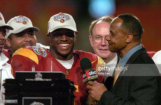 Running back Reggie Bush is interviewed by Lynn Swann of ABC Sports after 55-19 victory over Oklahoma in the FedEx Orange Bowl in Miami, Fla. On...