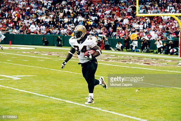 Running back Ricky Williams of the New Orleans Saints during a 28 to 27 loss to the San Francisco 49ers on