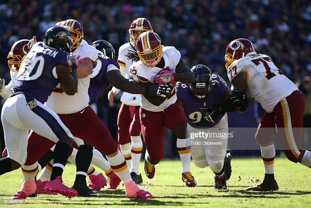 Running back Rob Kelley #32 of the Washington Redskins runs with the ball in the second half against the Baltimore Ravens at M&T Bank Stadium on October 9, 2016 in Baltimore, Maryland.