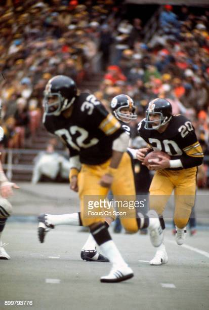 Running back Rocky Bleier of the Pittsburgh Steelers carries the ball against the Baltimore Colts during an NFL football game at Three Rivers Stadium...