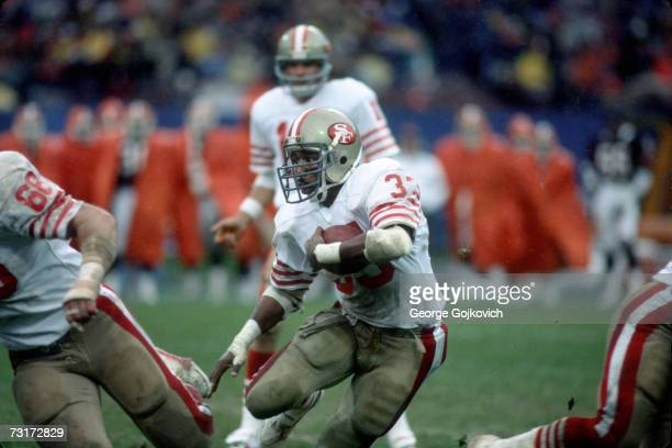 Running back Roger Craig of the San Francisco 49ers in action against the Cleveland Browns at Municipal Stadium on November 11 1984 in Cleveland Ohio