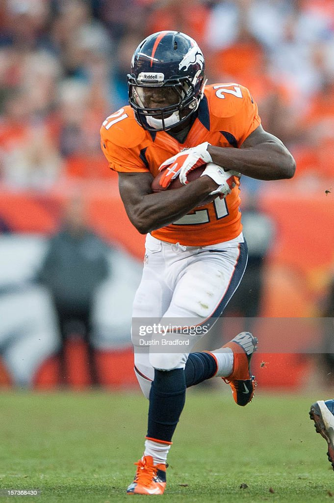 Running back Ronnie Hillman #21 of the Denver Broncos rushes during a game against the Denver Broncos at Sports Authority Field Field at Mile High on December 2, 2012 in Denver, Colorado.