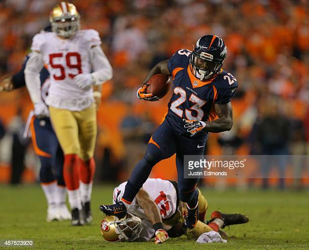 Running back Ronnie Hillman of the Denver Broncos rushes for a 37 yard 3rd quarter touchdown against the San Francisco 49ers at Sports Authority...
