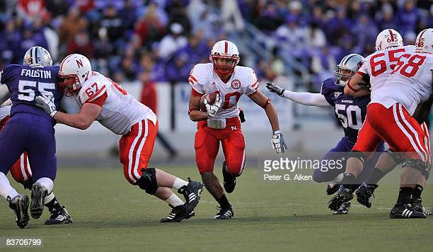 Running back Roy Helu Jr #10 of the Nebraska Cornhuskers rushed for 80yards on 13 carries and two touchdowns against the Kansas State Wildcats on...