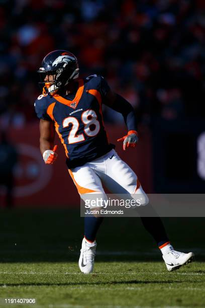 Running back Royce Freeman of the Denver Broncos runs a route against the Los Angeles Chargers during the first quarter at Empower Field at Mile High...
