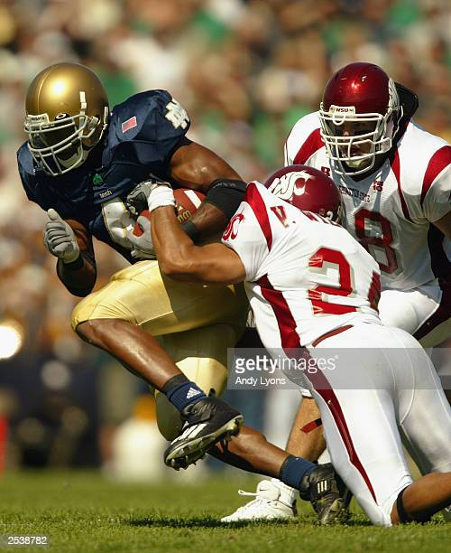 Running back Ryan Grant of the Notre Dame Fighting Irish carries the ball against the Washington State Cougars on September 6, 2003 at Notre Dame...