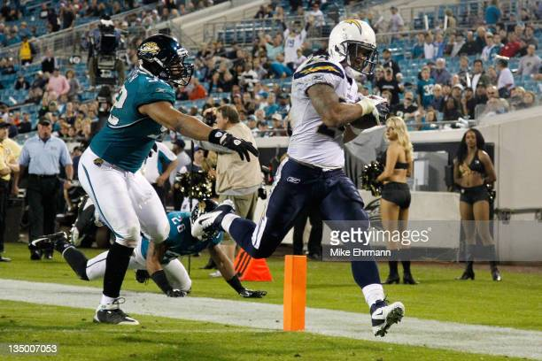 Running back Ryan Mathews of the San Diego Chargers scores a 31yard touchdown in the fourth quarter against the Jacksonville Jaguars at EverBank...