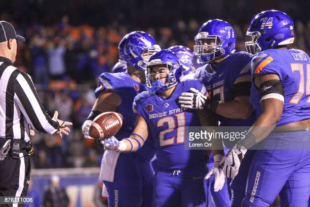Running back Ryan Wolpin of the Boise State Broncos celebrates a late touchdown during second half action against the Air Force Falcons on November...