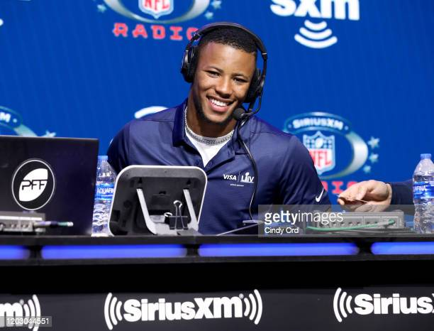 Running back Saquon Barkley of the New York Giants speaks onstage during day 2 of SiriusXM at Super Bowl LIV on January 30, 2020 in Miami, Florida.