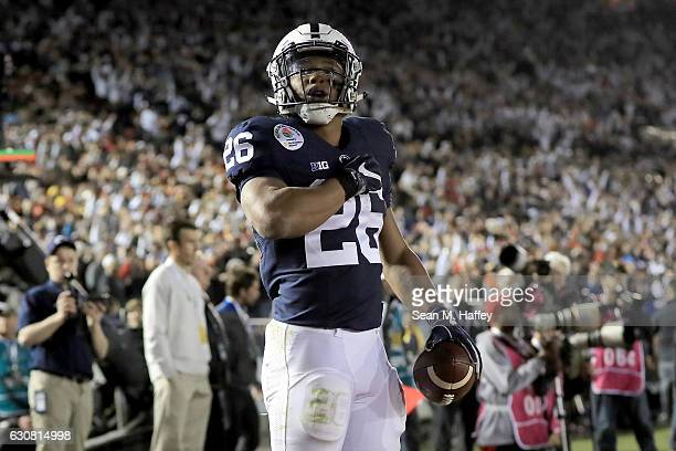 Running back Saquon Barkley of the Penn State Nittany Lions celebrates after making a 7yard touchdown reception in the third quarter against the USC...