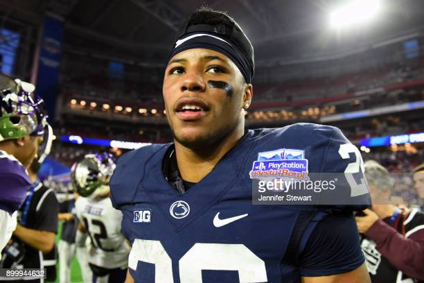 Running back Saquon Barkley of the Penn State Nittany Lions reacts on the field after defeating the Washington Huskies 3528 in the PlayStation Fiesta...