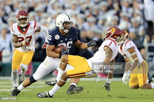 Running back Saquon Barkley of the Penn State Nittany Lions rushes for a 79yard touchdown in the third quarter against the USC Trojans during the...