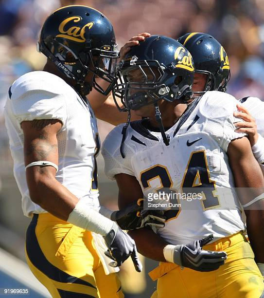 Running back Shane Vereen of the California Golden Bearscelebrates with side receiver Marvin Jones after runnning for a 42 yard touchdown in the...