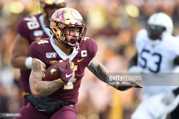 Running back Shannon Brooks of the Minnesota Golden Gophers rushes against the Penn State Nittany Lions during the second quarter at TCFBank Stadium...