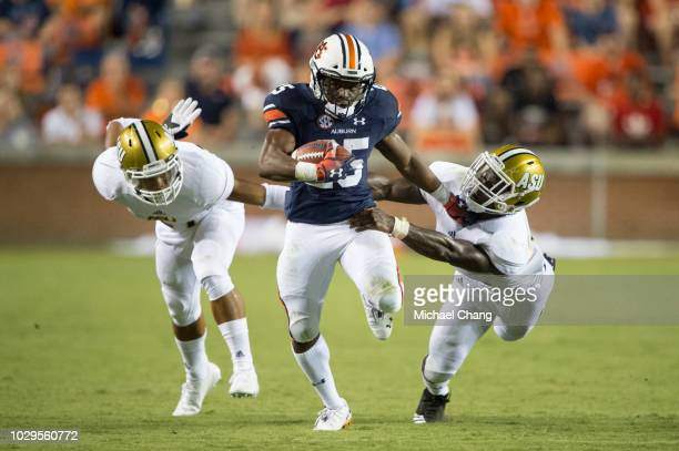 Running back Shaun Shivers of the Auburn Tigers runs the ball by defensive back Aaron Pope of the Alabama State Hornets and linebacker Darron Johnson...