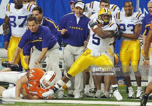 LSU running back Skyler Green rushes upfield against the University of Miami defense during the 2005 ChickfilA Peach Bowl on December 30 2005 at the...