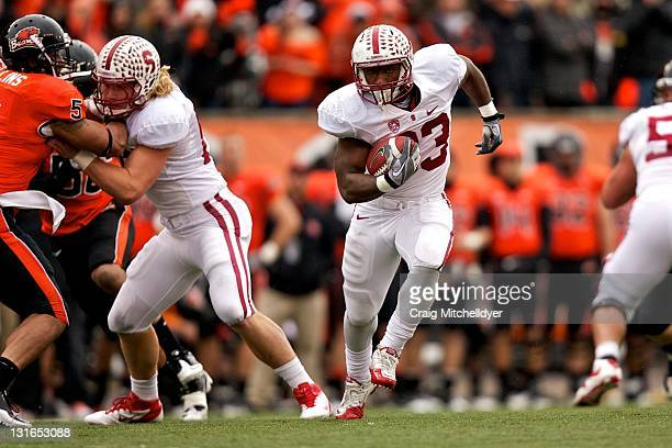 Running back Stepfan Taylor of the Stanford Cardinal rushes against the Oregon State Beavers on November 5, 2011 at Reser Stadium in Corvallis,...
