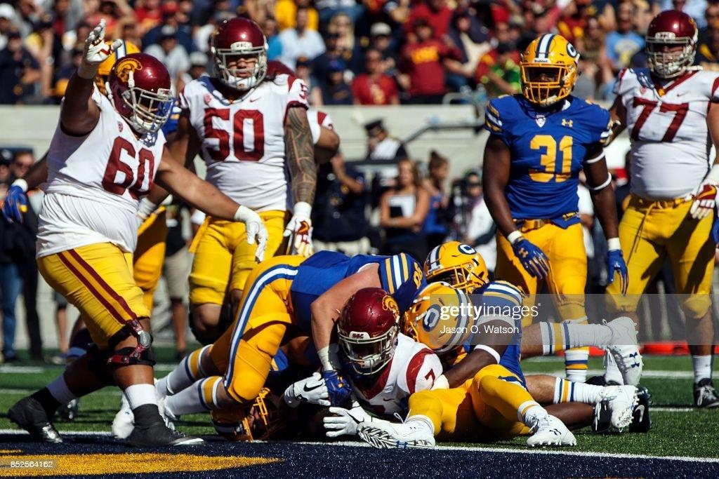 Running back Stephen Carr #7 of the USC Trojans scores a touchdown against the California Golden Bears during the fourth quarter at California Memorial Stadium on September 23, 2017 in Berkeley, California. The USC Trojans defeated the California Golden Bears 30-20.