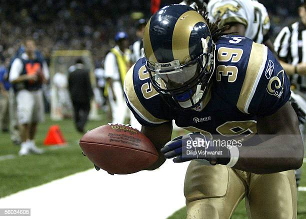 Running back Steven Jackson of the St Louis Rams celebrates a touchdown reception in the fourth quarter against the Jacksonville Jaguars at the...