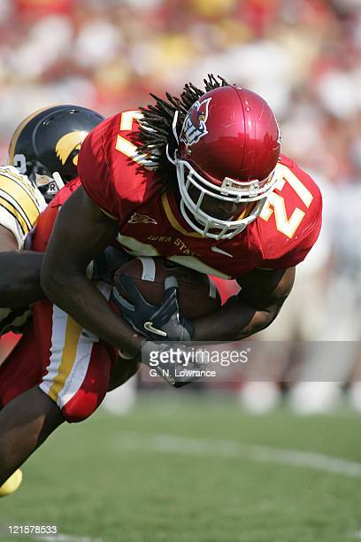 Running back Stevie Hicks of the Iowa State Cyclones in action during a game against the Iowa Hawkeyes at Jack Trice Stadium in Ames Iowa on Sept....