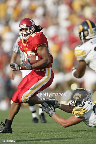 Running back Stevie Hicks of the Iowa State Cyclones in action during a game against the Iowa Hawkeyes at Jack Trice Stadium in Ames Iowa on Sept 10...