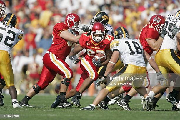 Running back Stevie Hicks of the Iowa State Cyclones runs for some of his 118 yards during a game against the Iowa Hawkeyes at Jack Trice Stadium in...