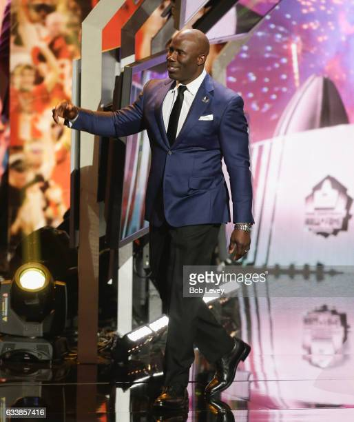 Running back Terrell Davis introduced as part of the Pro Football Hall of Fame Class of 2017 during the NFL Honors at the Wortham Theater Center on...