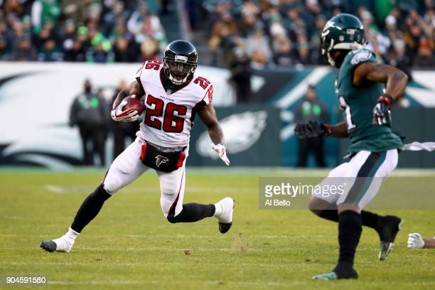 Running back Tevin Coleman of the Atlanta Falcons runs the ball against cornerback Jalen Mills of the Philadelphia Eagles during the first quarter in...