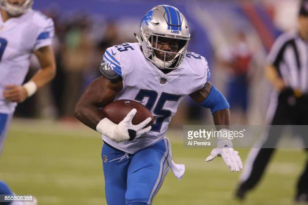 Running Back Theo Riddick of the Detroit Lions has a long gain against the New York Giants on September 18 2017 at MetLife Stadium in East Rutherford...