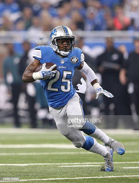 running back Theo Riddick of the Detroit Lions runs for a first down during the third quarter of the game against the Philadelphia Eagles on November...