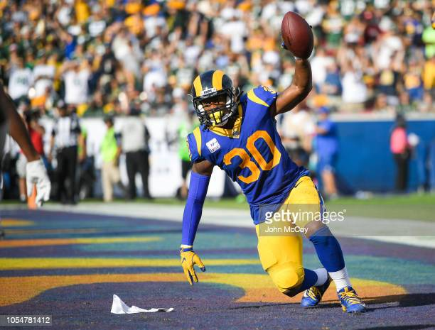 Running back Todd Gurley of the Los Angeles Rams celebrates after catching a twopoint conversion against the Green Bay Packers at Los Angeles...