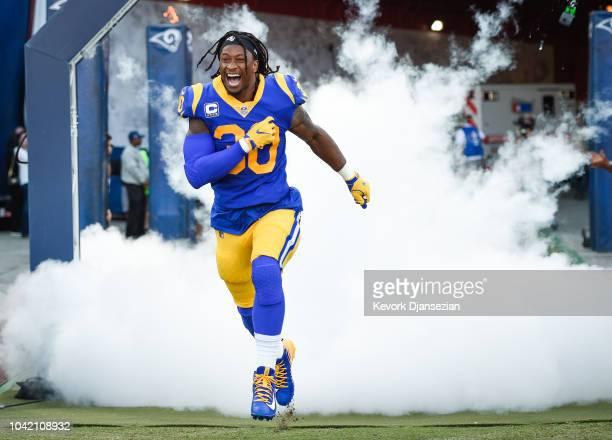 Running back Todd Gurley of the Los Angeles Rams enters the stadium ahead of the game against the Minnesota Vikings at Los Angeles Memorial Coliseum...