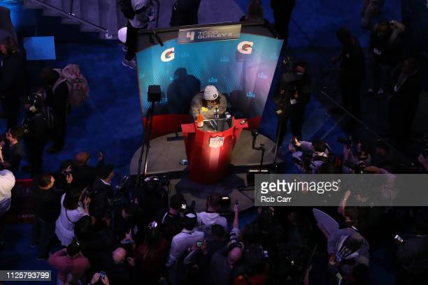Running back Todd Gurley of the Los Angeles Rams talks to the media during Super Bowl LIII Opening Night at State Farm Arena on January 28 2019 in...